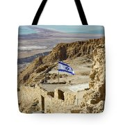 An Israeli Flag Flies Near The Entrance To The Top Of Masada In  Tote Bag