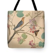 An Orange Headed Ground Thrush And A Moth On A Purple Ebony Orchid Branch, 1778 Tote Bag