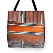 Antique Wooden Boat By Dock 1302 Tote Bag by Rick Veldman
