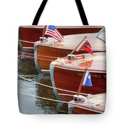 Antique Wooden Boats In A Row Portrait 1301 Tote Bag by Rick Veldman