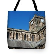 architecture of Hexham cathedral and clock tower Tote Bag