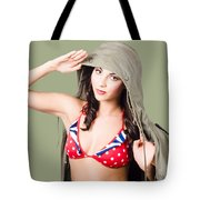 Army Pinup Saluting Retro Fashion In 1940 Style Tote Bag