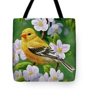 Female American Goldfinch And Apple Blossoms Tote Bag