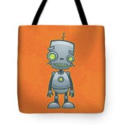 Happy Robot Tote Bag by John Schwegel