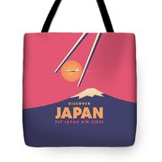 Retro Japan Mt Fuji Tourism - Magenta Tote Bag