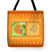 Lion Pair Warm Tote Bag