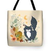 Autumn Garden Moonlit Kitty Cat Tote Bag