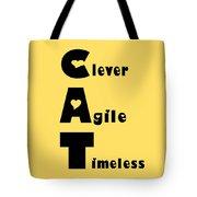 Cat With Black Words Tote Bag by Kathy K McClellan