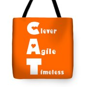 Cat With White Words Tote Bag by Kathy K McClellan