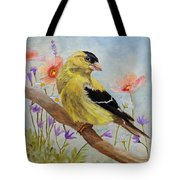 Early Spring American Goldfinch Tote Bag by Angeles M Pomata