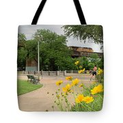 Urban Pathways Butler Park At Austin Hike And Bike Trail With Train Tote Bag