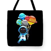 Astronaut With Planet Balloons Outta Space Tote Bag