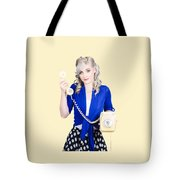Attractive Blond Female Secretary On Vintage Phone Tote Bag