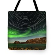 Aurora Borealis With Startrails Tote Bag