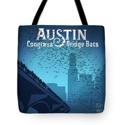 Austin Congress Bridge Bats In Blue Silhouette Tote Bag