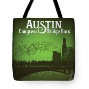 Austin Congress Bridge Bats In Green Silhouette Tote Bag