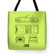 Austin Healey 100 Blueprint - Black Tote Bag