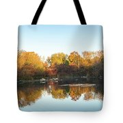Autumn Mirror - Silky Wavelets Caused By Ducks Tote Bag