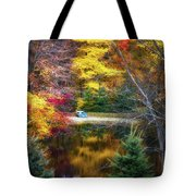 Autumn Pond With Rowboat Tote Bag