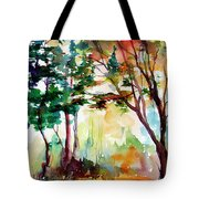 Autumn Trees Watercolors Tote Bag by Ginette Callaway