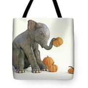 Baby Elephant And Pumpkins Tote Bag