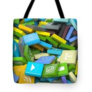 Background Crowded With Various Beveled Square Apps  Tote Bag