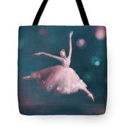 Ballet Dancer Pink And Peacock Blue Tote Bag