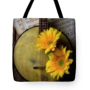 Banjo And Two Sunflowers Tote Bag