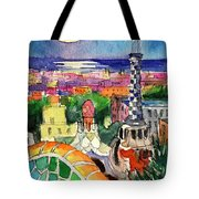 Barcelona By Moonlight Watercolor Painting By Mona Edulesco Tote Bag