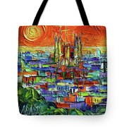 Barcelona Orange View - Sagrada Familia View From Park Guell - Abstract Palette Knife Oil Painting Tote Bag