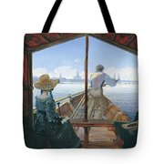 Barge Trip On The Elbe Near Dresden, Morning On The Elbe, 1827 Tote Bag