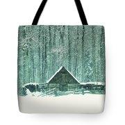 Barn In Snowfall Tote Bag