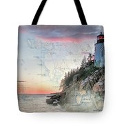 Bass Harbor Lighthouse On A Chart Tote Bag