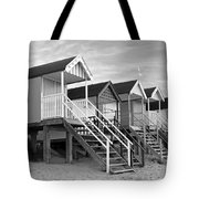 Beach Huts Sunset In Black And White Tote Bag