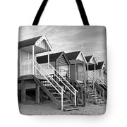 Beach Huts Sunset In Black And White Square Tote Bag