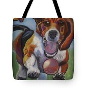 Beagle Chasing Ball Tote Bag