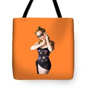 Beautiful 1950s Pinup Woman Listening To Sea Shell Tote Bag