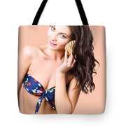 Beautiful Beach Babe Over Studio Background Tote Bag