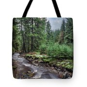 Beautiful Ethereal Style Landscape Image Of Small Brook Flwoing  Tote Bag