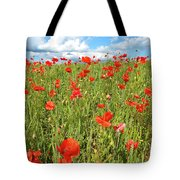 Beautiful Fields Of Red Poppies Tote Bag