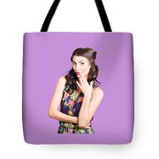 Beautiful Girl With Red Lips Expressing Surprise Tote Bag
