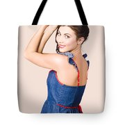 Beautiful Pin Up Woman. Rockabilly Retro Fashion Tote Bag