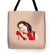 Beautiful Pinup Girl Holding Candy. Sweet Heart Tote Bag