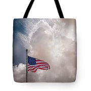 Beautifully Waves - U S Flag And Clouds Tote Bag