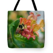 Bee On Wild Honeysuckle Tote Bag by Ann E Robson