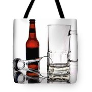 Beer Bottle And Glasses Tote Bag