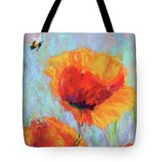 Bees And Poppies Tote Bag