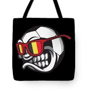 Belgium Angry Soccer Ball With Sunglasses Fanshirt Tote Bag