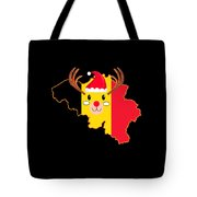 Belgium Christmas Hat Antler Red Nose Reindeer Tote Bag