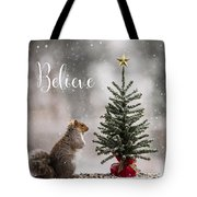 Believe Christmas Tree Squirrel Square Tote Bag